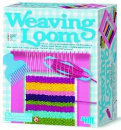 """4M Weaving Loom Kit by 4M. $10.68. Make one cell phone bag and 3 coasters. Detailed instructions included. Includes 6.5""""x8"""" weaving loom, plastic needle, shuttle, weaving comb. Learn to weave with this beginner's set. Also includes yarn and warp string. From the Manufacturer                The 4M Weaving Loom Kit is perfect for beginners. Includes a 6.5""""x8"""" weaving loom, plastic needle, shuttle, weaving comb different colored yarn and wrap string. Comes with d..."""