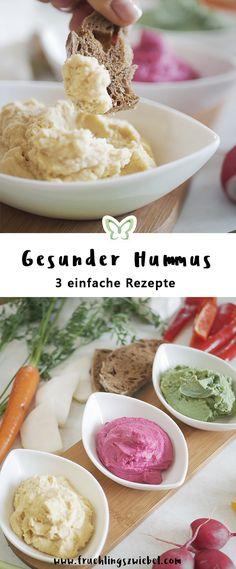 perfekter fitness snack für zwischendurch: selbstgemachter hummus mit gemüsesticks. hier die rezepte für rote beete, avocado und natur hummus. unbedingt ausprobieren, geht so einfach und schnell.