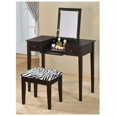 Contemporary Vanity Set with Flip Mirror Top and Zebra Print Stool Espresso Finish (00610395845355) Convenient and practical, the Vanity Set is handy to have around. This Vanity set is perfect to place your make up and the drawer design to store small items. Features: Vanity Set has a Espresso finish Constructed of Medium Density Fiberboard (MDF) and Particle Board. Overall Dimensions approximately: Vanity: 36 W x 18 D x 30 H Stool: 18 W x 12 D x 18 H Weight: 49lbs