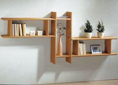 Wooden Shelves, Floating Shelves, Diy Pallet Furniture, Furniture Design, Showroom Interior Design, Family Room Walls, Room Partition Designs, Regal Design, Ikea Living Room