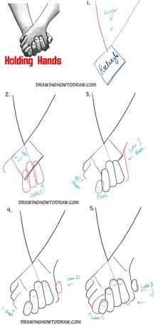 Here are the Steps to drawing two people holding hands