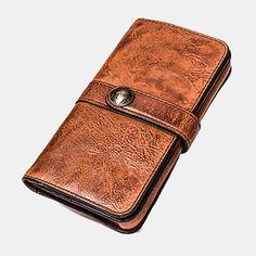 Hot-sale Men Vintage Card Holder Solid Phone Bag Long Wallet - NewChic Mobile Vintage Cards, Vintage Men, Mens Long Leather Wallet, Rich Money, Make Money Now, Long Wallet, Leather Working, Clutch Wallet, Clothes For Sale