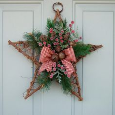 Items similar to Christmas Wreath - Holiday Door Wreath, Christmas Holiday Wreath on Etsy Etsy Christmas, Christmas Star, Rustic Christmas, Christmas Tree Ornaments, Christmas Holidays, Christmas Decorations, Holiday Door Wreaths, Christmas Flower Arrangements, Holiday Crafts
