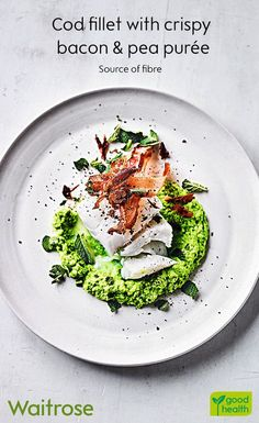 Light and flaky, our cod fillet is ready in only 20 minutes. Serve on a bed of pea purée with a rasher of crispy bacon. Finish with a scatter of mint leaves. See the recipe on the Waitrose website. Cod Fillet Recipes, Cod Recipes, Pureed Food Recipes, Veggie Recipes, Fish Recipes, Seafood Recipes, Dinner Recipes, Cooking Recipes, Healthy Recipes