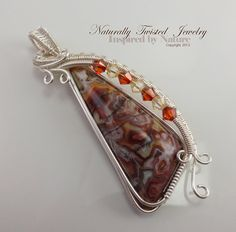 Mexican Crazy Lace Agate Wire Wrapped Pendant by MaryOlczyk