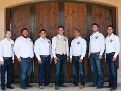 Wedding Country Groomsmen Jeans White Shirts Ideas For 2019 Country Wedding Groomsmen, Rustic Groomsmen Attire, Groomsmen Grey, Groomsmen Outfits, Wedding Country, Cowboy Groomsmen, Country Groom Attire, Groomsman Attire, Casual Groom Attire