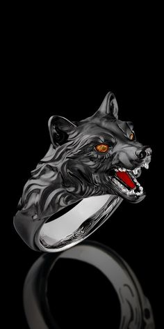 i love the wolf one since i am stark :D Black Gold 18 karate . i love the wolf one since i am stark :D Wolf Jewelry, Animal Jewelry, Jewelry Rings, Jewelery, Jewelry Accessories, Dragon Jewelry, Wolf's Head, Animal Rings, Black Gold Jewelry