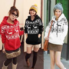 Cute Deer Print Hoodie Sweatshirt
