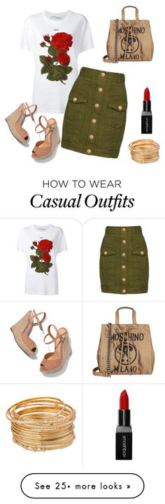 """Casual"" by dr3amd0ll on Polyvore featuring Off-White, Balmain, Schutz, Moschino and Smashbox"