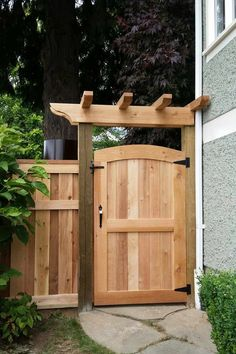 Cedar Gates & Arbours Custom Design in Vancouver - Premium Fence Company of BC - yard gate Backyard Gates, Garden Gates And Fencing, Backyard Privacy, Pergola Patio, Fence Gates, Fence Doors, Dog Fence, Fenced In Backyard Ideas, Arbor Gate