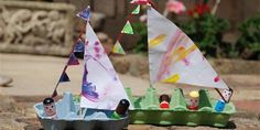 4 Easy Recycled Paper Crafts for Kids DIY Re- cycled Egg Carton Boat and Sail by Red Ted Art -Plaid Online Kids Crafts, Summer Crafts For Toddlers, Boat Crafts, Easy Diy Crafts, Toddler Crafts, Spring Art Projects, Art Projects For Adults, Craft Projects For Kids, Craft Ideas