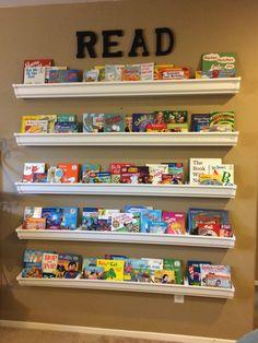 Diy Shelves For Kids Room Gutter Bookshelf Ideas Kids Room Bookshelves, Bookcase, Bookshelf Ideas, Pallet Bookshelves, Book Shelves, Shelving For Kids Room, Diy Bookshelf Wall, Book Storage, Gutter Bookshelf
