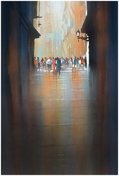 """wet street - barcelona"" thomas w schaller watercolor  30x22 07 july 2014"