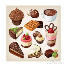 Set Of Chocolate Sweet Food Impressão artística