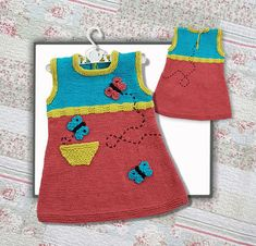 This dripping cute little girls tunic( or as a sleeveless dress) is a knitting pattern for your 1-5 year old precious little angel Quick & easy to make - Instructions for 1 - 5 year olds - Basic knitting skills needed - Knitted on the flat with single pointed needles - American terminology with metric measurements - Written .pdf instructions with some images for reference, if you need them Original was worked in Katia Missouri – MC #17 Coral, CC1 #3 Turquoise, CC2 #25 Yellow-Green , CC3 #2…