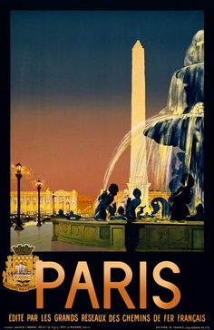 Paris, édité par les grands réseaux des chemins de fer Français / Julien Lacaze ; Imp. Chaix, Paris. Created by Julien Lacaze in 1930 as a color lithograph at 100 x 62 cm. Poster showing Place de la Concorde with obelisk and fountains.