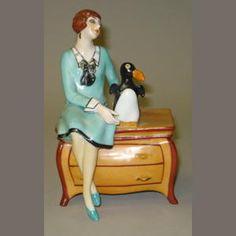 Bonhams 1793 : Deco Lady and Penguin dressing table box