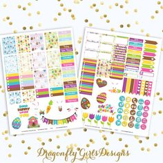 NEW!!! DIY Some Bunny Loves You Easter Printable Planner Stickers Mini Kit 125 Stickers pdf 2 jpeg Erin Condren Life Planner Kikkik Filofax