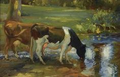 (Sir) Alfred James Munning-Dairy Cows by a Stream