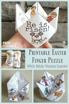 Looking for a simple yet super-fun craft for Easter? You just found it – the Easter finger puzzle! These adorable Easter Finger Puzzles are perfect to make with your own kids at home or in a classroom. They would also be great to hand out to kids at a chu Sunday School Activities, Sunday School Lessons, Easter Activities, Easter Crafts For Kids, Activities For Kids, Easter Craft Sunday School, Bible Activities, Easter Ideas, Kids Church Crafts