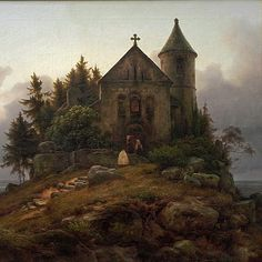 Chapel on the Edge of the Wood (detail) Carl Friedrich Lessing - 1839.