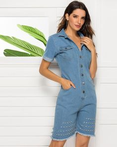 Denim Rivert Hollow Out Rompers Denim Playsuit, Playsuit Romper, Denim Jumpsuit, Denim Shorts, Jumpsuit Style, Dance Shirts, Jumpsuits For Women, Sleeve Styles, Rompers