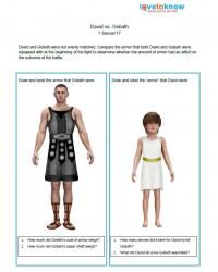"""David and Goliath worksheet idea, make my own with a different """"David"""""""