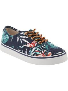 Boys Tropical-Print Canvas Sneakers