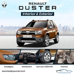 Check out the all New Interior and Exterior features of Renault Duster only on Book Your Car. Phone Store, Ad Car, Dusters, Motor Car, Cars And Motorcycles, Interior And Exterior, Volkswagen, Automobile, Bicycle