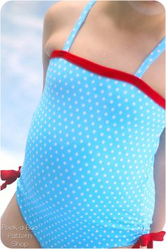 La Jolla OnePiece Swimsuit Girls Swimsuit by PeekabooPatternShop, $7.95
