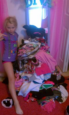 Jojo cleaning out her closet. haha