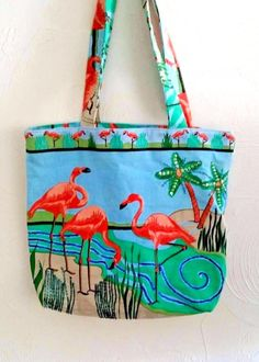Tropical Flamingo Tote Bag Shopping Beach Gym Beaded Pink #Unbranded #TotesShoppers