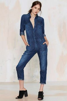 Give that Canadian tuxedo a break and opt for this denim jumpsuit instead.