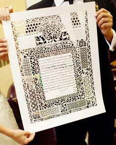 """Mindy and Matt's ketubah, a Jewish marriage certificate, was laser cut by Ardyn Halter."" —So I am aware of the fact that we are not Jewish, but this is soooo gorgeous!"