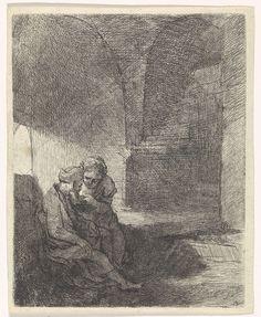 Bernard Picart   Pero zoogt de geketende Cimon in de gevangenis, Bernard Picart, Rembrandt Harmensz. van Rijn, 1683 - 1733   Pero geeft haar vader Cimon de borst in zijn gevangeniscel (Caritas Romana). Het verhaal is een voorbeeld uit de klassieke literatuur van de liefde van kinderen voor hun ouders.