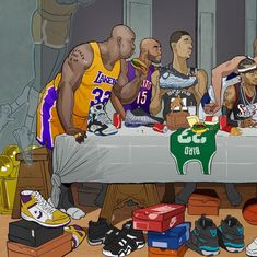 This amazing Last Supper piece created for the Ballzy store in Latvia features Michael Jordan, Kobe Bryant, LeBron James, Allen Iverson and more. Basketball Drawings, Basketball Memes, Basketball Art, Basketball Pictures, Basketball Legends, Sports Memes, Basketball Players, Shaquille O'neal, Magic Johnson