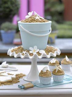 Beach Bucket Sand Cake tiare white cake stand light blue starfish seashell seashells brown sugar