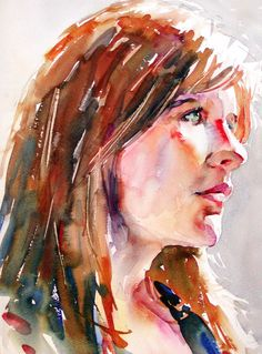 Love the loose approach to this watercolor portrait