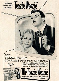 """Glamour made easy, by using Teazie Weazie And what is this wacky stuff? """"Soapless Powder Shampoo with the sophisticated French Perfume"""" SEE MORE OF MR. TEAZIE WEAZIE So who is this guy? He's Raymond Bessone , and he taught Vidal Sassoon how to cut hair, for one thing. He…"""