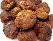 Fasírozott: Ingredients ― ground meat (½ beef, ½ pork); eggs; onion; oil; garlic; red pepper flakes; salt and black pepper; white bread; milk; oil to fry; Instructions ― Soak bread in milk; Finely chop onion; sauté; add ground meat, bread, onion, and all the remaining ingredients; mix well by hand. Form balls with wet hands; fry. Remove and drain on paper towel-lined plate. #Budapest #Meatloaf #Fasirozott