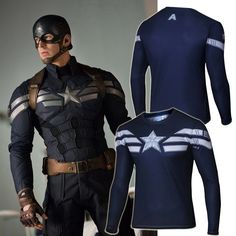 Captain America Star Long Sleeve Compression Shirt – Novelty Force - Check it out while it's on sale too!