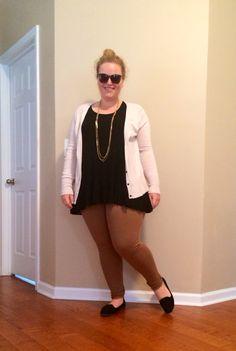 Business casual - tan pants, black top, creme cardigan, black flats, top knot, sunglasses