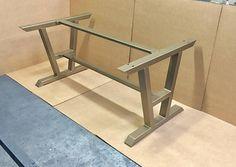 Turned A-Shaped Modern Steel Base, Design Steel Table Legs + 2 Cross Braces