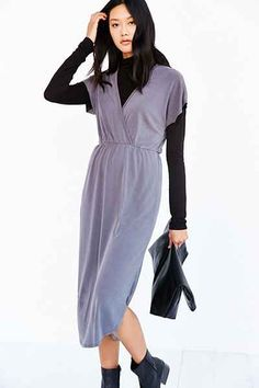 Silence + Noise Deep-Surplice Midi Dress - Urban Outfitters