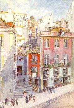 Escadinhas de S.Cristovam (Lisboa Velha, n.º91) by Roque Gameiro, 1910-20.