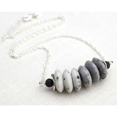 White to Gray Ombre Stone Necklace. Bar Necklace, Stacked Black Lava... ($47) ❤ liked on Polyvore featuring jewelry, necklaces, grey, ombre, white stone necklace, chain necklace, sterling silver necklace, white stone jewelry and sterling silver jewelry