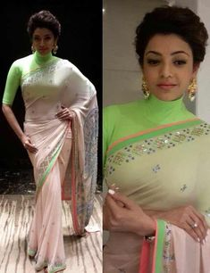 Neon Colored Turtle Neck Blouse With 34th Sleeves For Party Wear Sarees