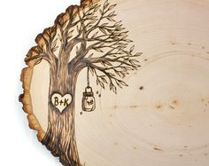 Country Mason Jar Design: Wood slice rustic theme wedding guest books. Personalized on Etsy, $44.99