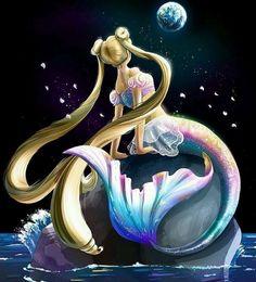 Sailor Moon/Princess Serenity as a mermaid, art mine! Sailor Moon Crystal, Cristal Sailor Moon, Arte Sailor Moon, Sailor Moon Fan Art, Sailor Moon Usagi, Anime Mermaid, Mermaid Art, Princesa Serena, Sailor Saturno