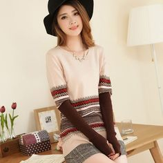Women Outerwear Basic Sweater Knitted Pullover Cashmere Casual Loose Wool Clothing Long-sleeve Thick Color Shirt